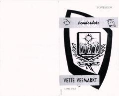 Menu feestmaal Vette Veemarkt 1962