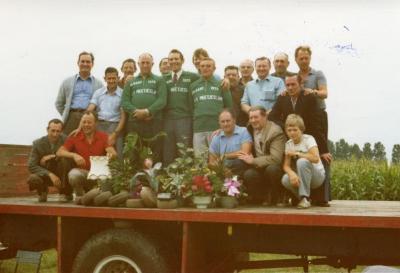 Huldiging krulbolkampioenen van het Meetjesland 1975
