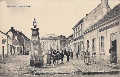 Postkaart Varkensmarkt (Diederikplein) Assenede, ca. 1914