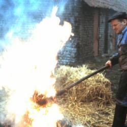 Het branden van een geslacht varken, Lembeke, jaren 1960