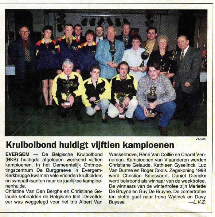 Krulbol, groepsfoto huldigingsbal, 1998