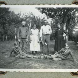 Hoeve met boomgaard en kippen, Waarschoot (bos), 1955