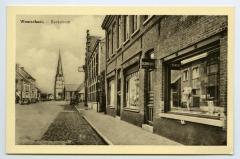 Postkaart dorpszicht Kerkstraat, Waarschoot