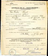 Aanvraag tot frontstreeprente, Ertvelde, 1941