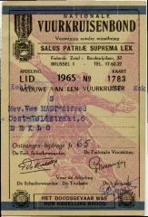 Lidkaart nationale vuurkruisenbond, 1965