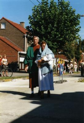 Maria en Jozef in de processie van Rieme, 2003