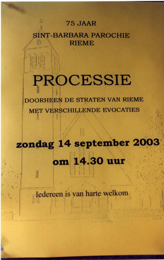Programmaboekje processie Rieme, 2003