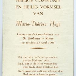 Aandenken aan vormsel en communie van Marie-Thérèse Heye, 1961 (II)