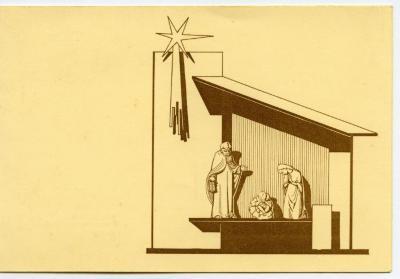 Kerstkaart van de Sint-Barbarakerk Rieme, 1961