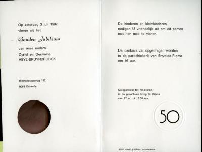 Uitnodiging voor jubileumviering Heye-Bruynbroeck in de kerk van Rieme, 1982