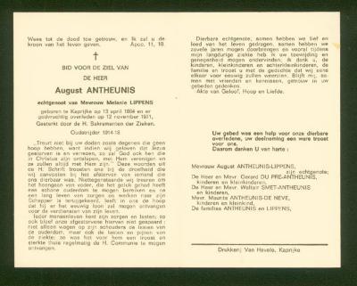 Binnenzijde bidprentje August Antheunis, Kaprijke, 1971