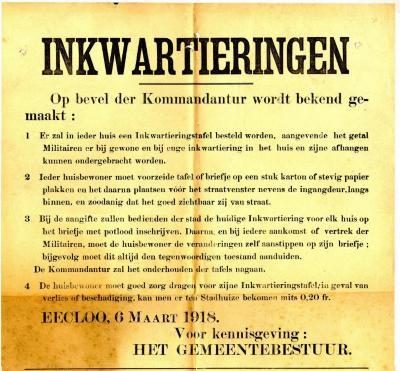 Inkwartieringen, Eeklo, 1918