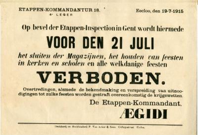Verordening 21 juli viering, Eeklo, 1915