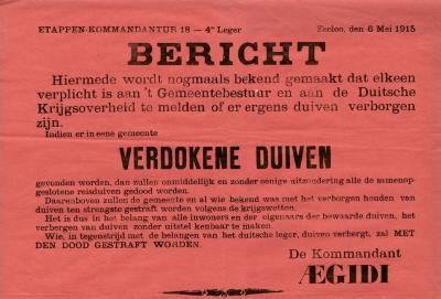 Verborgen duiven, Eeklo, 1915