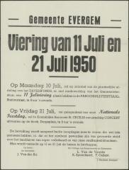 Viering 11 en 21 juli Evergem